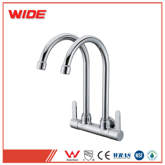China Wall Mounted Kitchen Sink Faucet With Two Spouts Mixer Tap