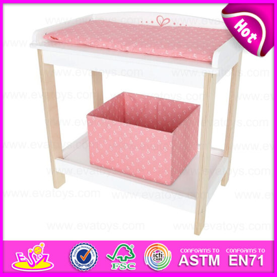 Hot Selling Pretend Play Wooden Doll Furniture Doll Bunk Bed With Storage Box W06b035