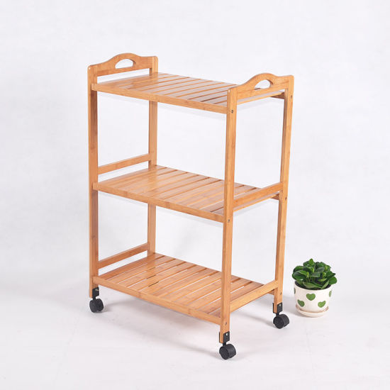 Handicraft Furniture Bamboo Shelves Rack with Wheel Wholesale pictures & photos