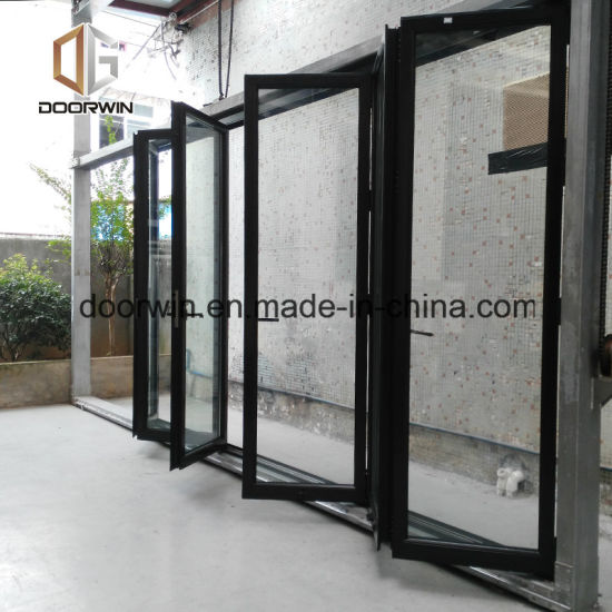 China Doubletriple Glazing Tempered Glass Door Bi Folding Aluminum