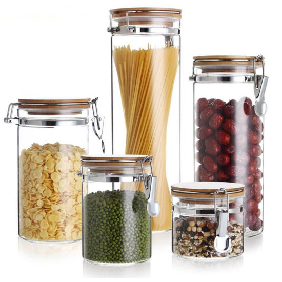 Glass Pickles Jar Honey Jar Candle Jar with Stainless Steel Buckle Lid