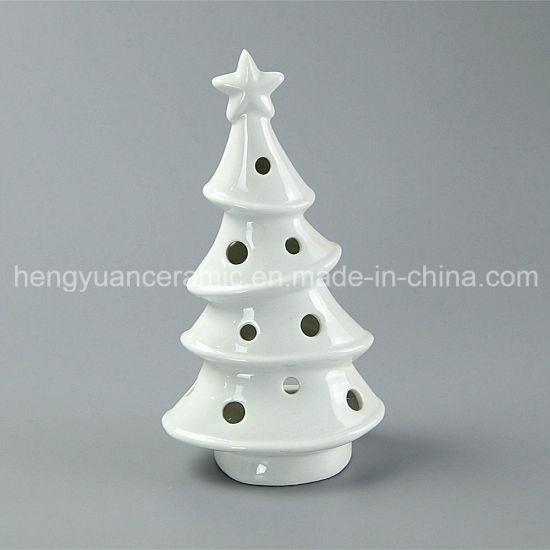Spot Goods White Porcelain Tree Shaped Ceramic Christmas Candle Holders