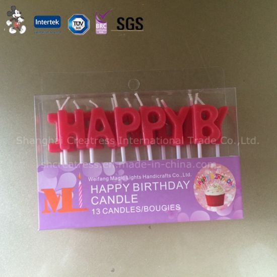Wholesale Pure Red Happy Birthday Letter Candle Pictures Photos
