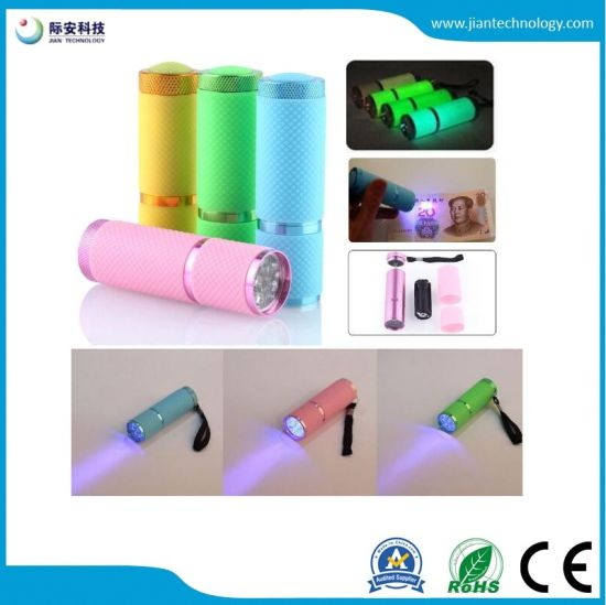 Hot Sale Portable Multifunction UV 395nm Ultra Violet 9LED Flashlight pictures & photos