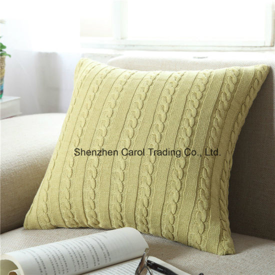 China Double Cable Knitting Patterns Super Soft Square Pillow Covers