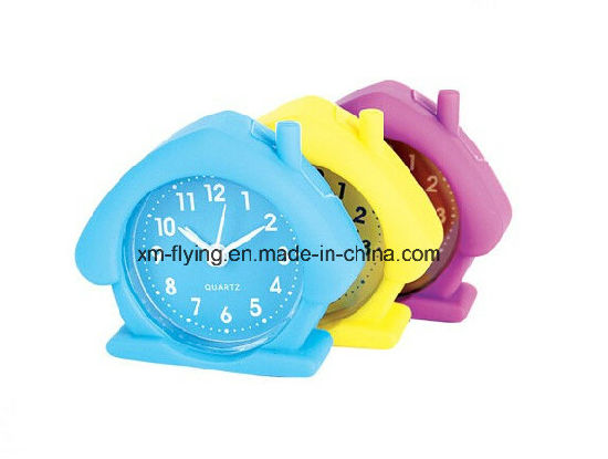 Promotional Creative Lovely Apple Shape Silicone Mini Table Alarm Clocks for Students pictures & photos