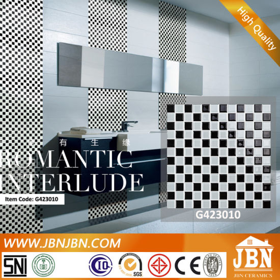 Black and White Checkerboard Wall Glass Mosaic (G423010)