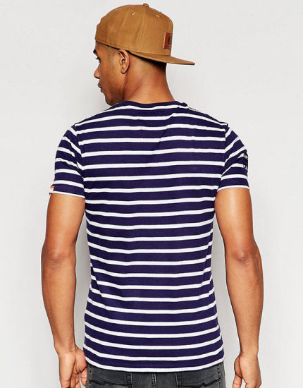 China Factory Wholesale Mens Blue and White Stripe T Shirt pictures & photos