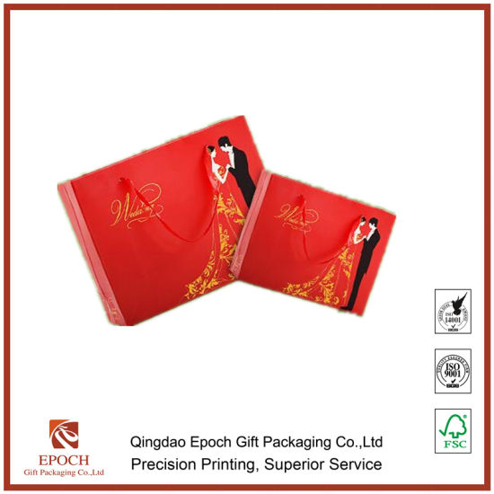 china red color offset printing coated paper bag wedding gift bags