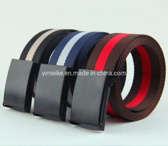 Wholesale Fashion Stripes Unisex Men and Ladies Nylon Fabric Belt