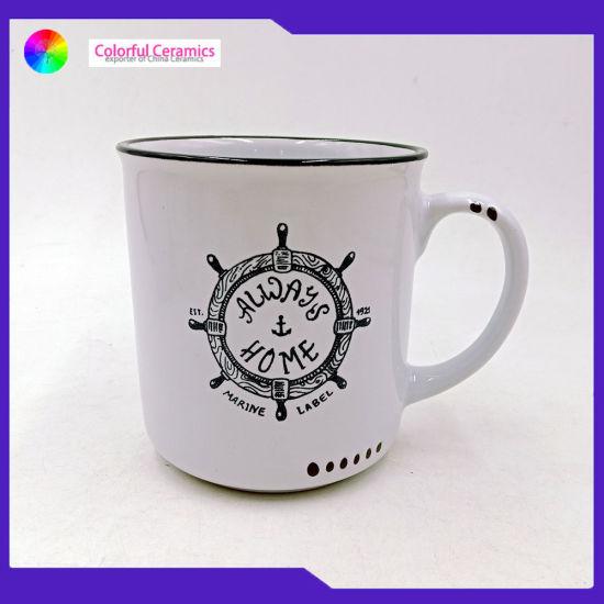 Wholesale 420ml Ceramic Mug Christmas Coffee Cup 15oz Enamel Porcelain Mug