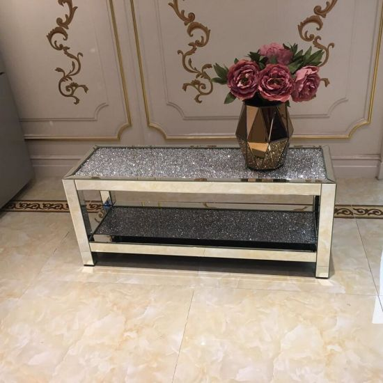 Wholesale Diamond Crushed Mirrored Center Coffee Table Two Layers