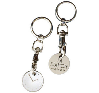 Wholesales Custom Logo Metal Trolley Token Coin Keychain with Hook for Promotional Gift/Souvenir/Event/Advertising