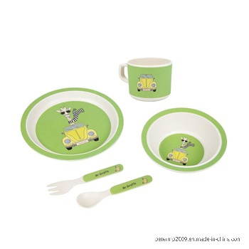 100% Natural Bamboo Fiber Kids Dinner Set with Spoon