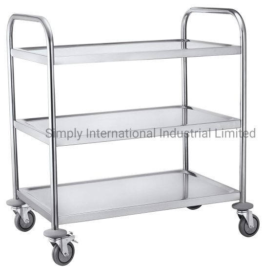 3 Layers Mobile Handling Steel Storage Drug Trolley Cart in Hospital Clinic