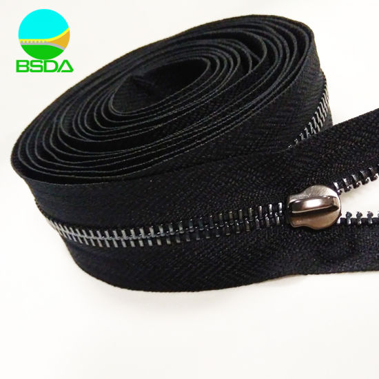 Zip Factory Custom Any Size Metal Zipper Stainless Steel Polished Teeth Metal Zipper for Luggage Bags