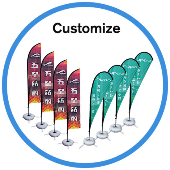 Custom Outdoor Rotary Windproof Beach Flag Pole for Advertisting pictures & photos