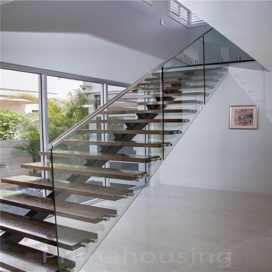 Used Glass Railing Building Oak Wooden Tread Straight Staircase