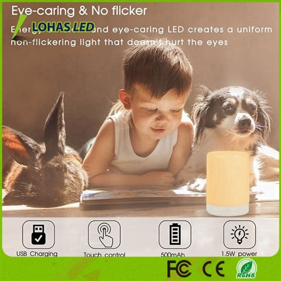USB Rechargeable Touch Sensor Table Lamp RGB Color Changing Smart Night Light for Home Decoration pictures & photos