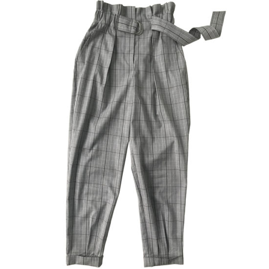 Fashion Belt Waist Plaid Women Trouser Pants Womens Trousers pictures & photos