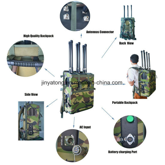 Manpack Jammer Drone Jammer 6 Channels 90W GPS 5.8g WiFi Backpack Jammer to 200m pictures & photos