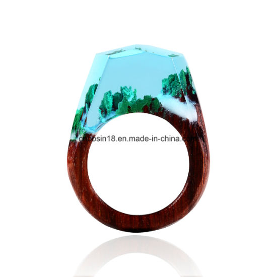 Hanmade Custom Blackwood Ring, Resin Rose Gold Foiled Ring pictures & photos