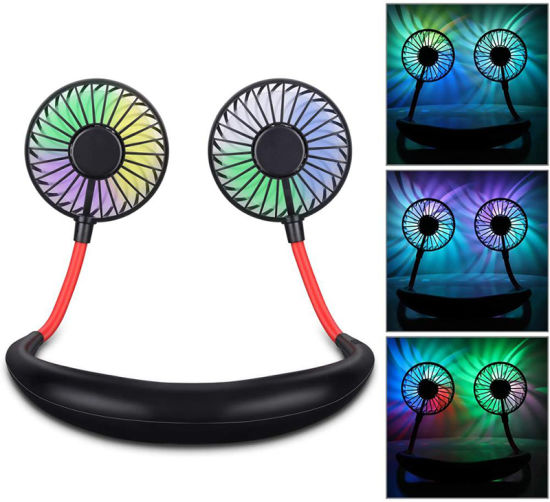 2020 New Hands-Free Neck Band Hands-Free Hanging USB Rechargeable Dual Fan Mini Air Cooler with Color Changing LED Aromatherapy pictures & photos