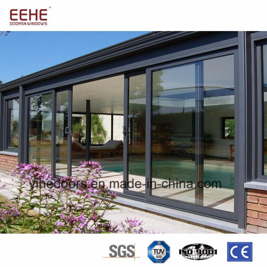 China Industrial Sliding Glass Door With Grills Aluminum Profile