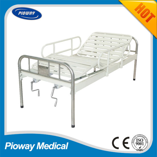 Hospital Stainless Steel Bed with Guardrail, Two Crank (PW-B04)