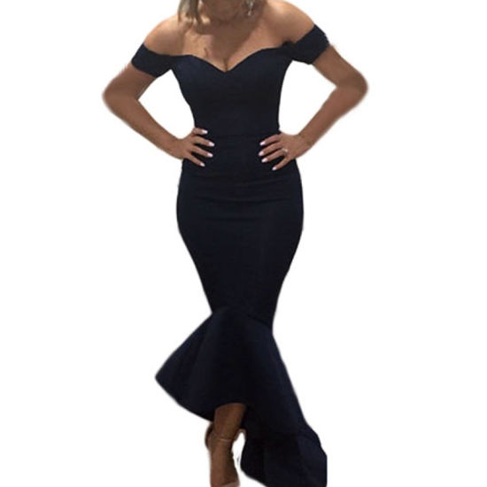 Fashion Women Black off Shoulder Mermaid Jersey Cocktail Evening Dress