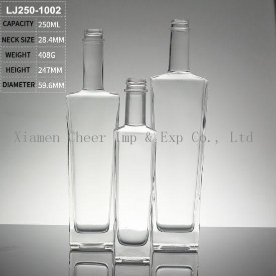 China Supplier High Flint 250ml Liquor Bottle Vodka Glass Bottle