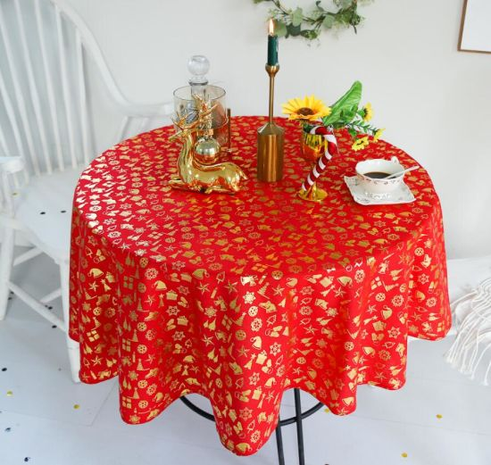 Printing Wholesale Christmas Snow Stamping Round Tablecloth
