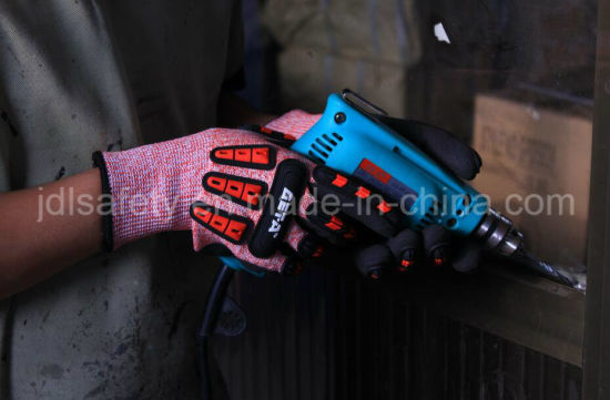 Specialty Hand Protection Anti Vibration Anti-Impact Safety Glove with Sandy Nitrile Dipping on Palm