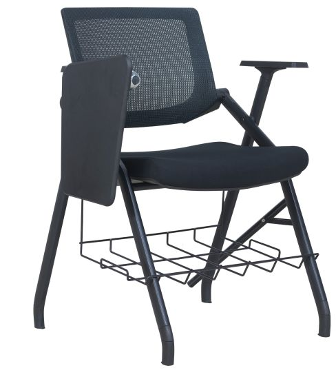 Folding Stackable Conference Hall Connectable Training Chair with Writing Tablet
