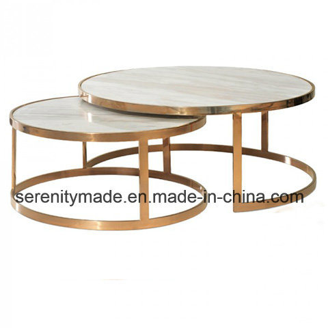 Modern Round Metal Marble 2 Piece Nest Coffee Table Set China