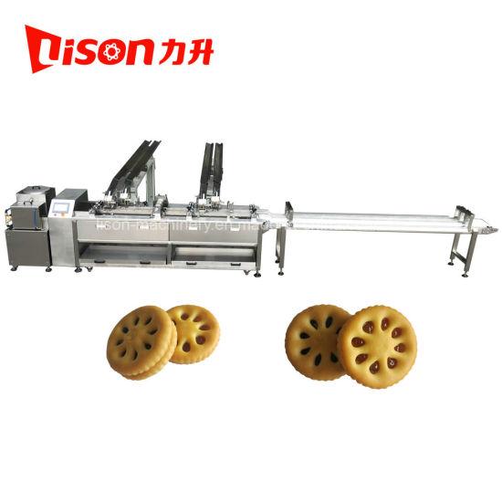 Pakistan Ce Fruit Jam or Cream Filling Biscuit Sandwiching Machine with Conveyor