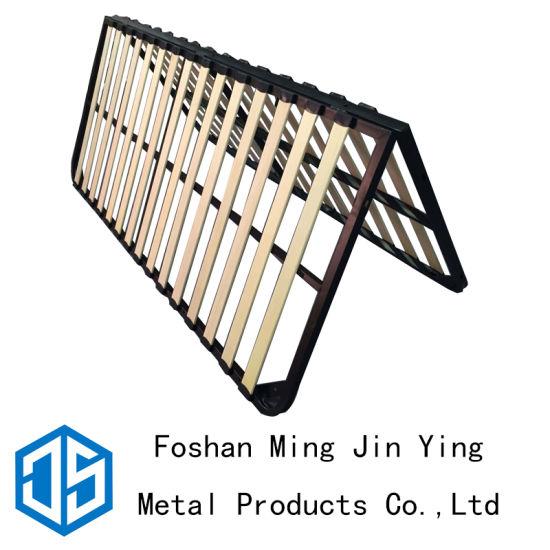 China Foldable Solid Wooden Slats Metal Frame King Size Bed Frame ...