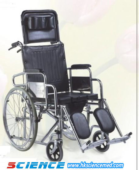 Manufacturer Sale Manual Commode Wheelchair with High-Backrest Relining