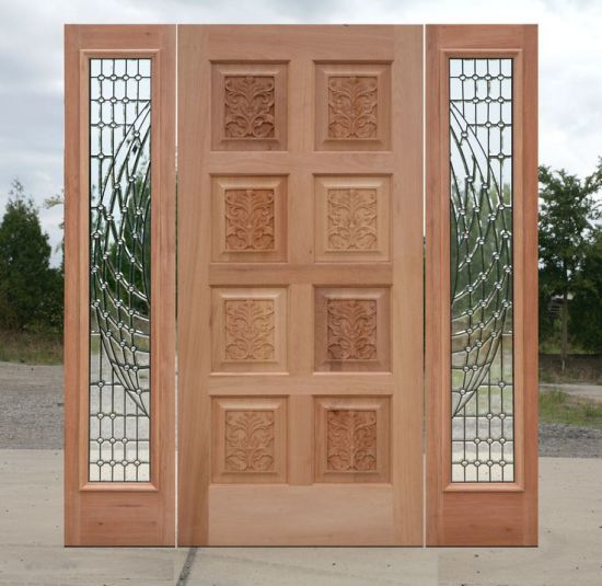 China Double Glass 8 Panel Exterior Solid Wooden Door China Morden