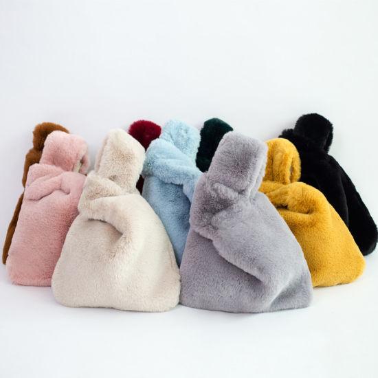 Faux Fur Lady Handbags Vest Shape Fake Fur Fashion Bags