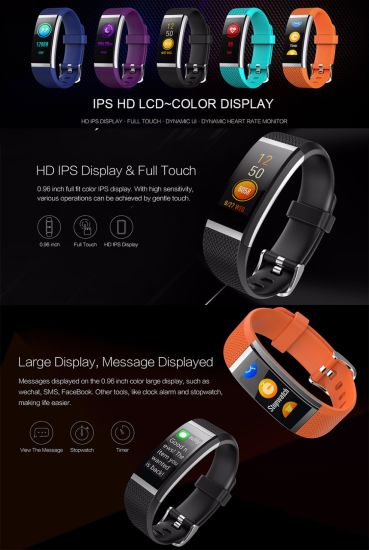 Fashion New Design HD IPS Display Color Touch Screen Sports Tracking Call Notification Smart Wristband/Bracelet /Fitness Watch   Phone