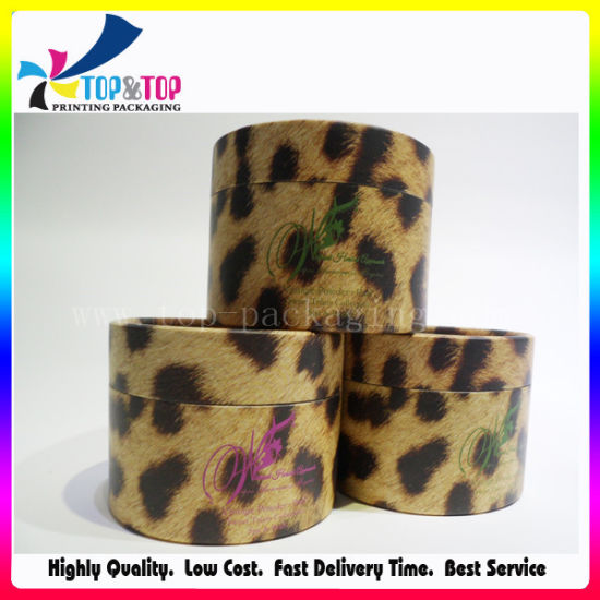 Leopard Printing Round Powder Puff Box pictures & photos
