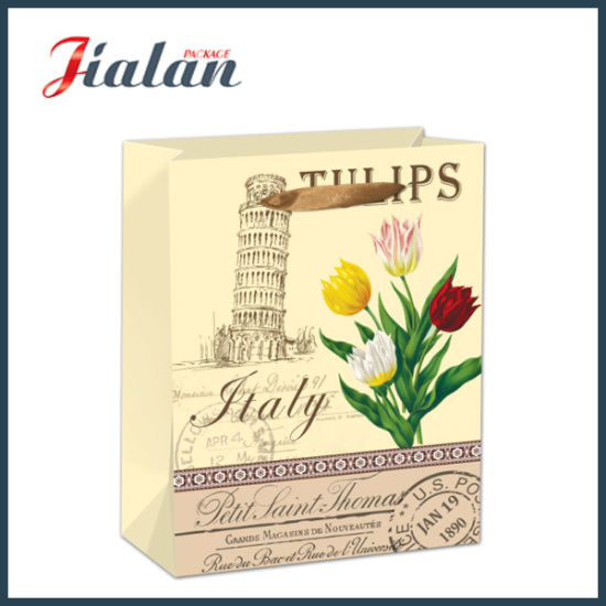 Customize Retro Flowers Printed Shopping Carrier Gift Paper Bag