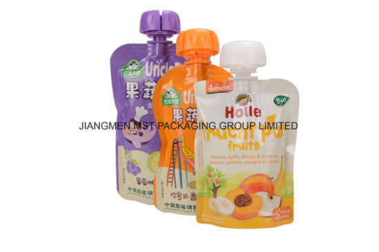 Stand up Plastic Juice Reusable Baby Food Packaging Spout Bag pictures & photos