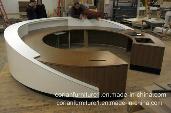 round office desk. Modern Wood Solid Surface Corian Round Office Reception Desk E