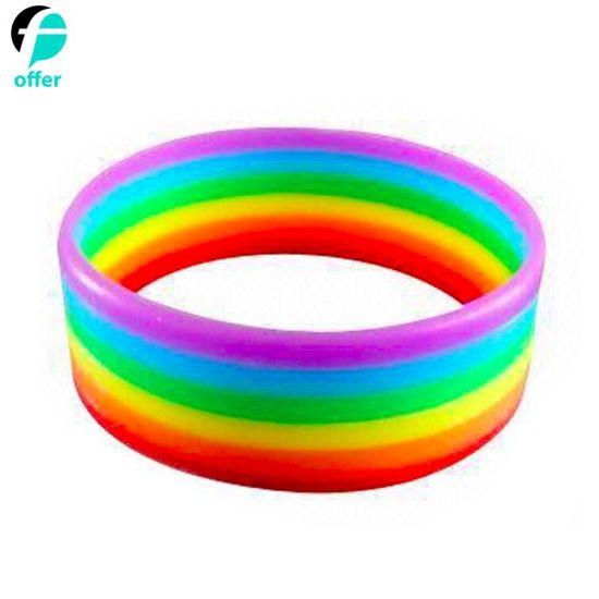 Wide Silicone Rubber Pride Rainbow Bracelets