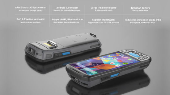 GSM/GPRS/4G/Bluetooth/WiFi Portable Handheld RFID Reader Writer Barcode  Scanner PDA