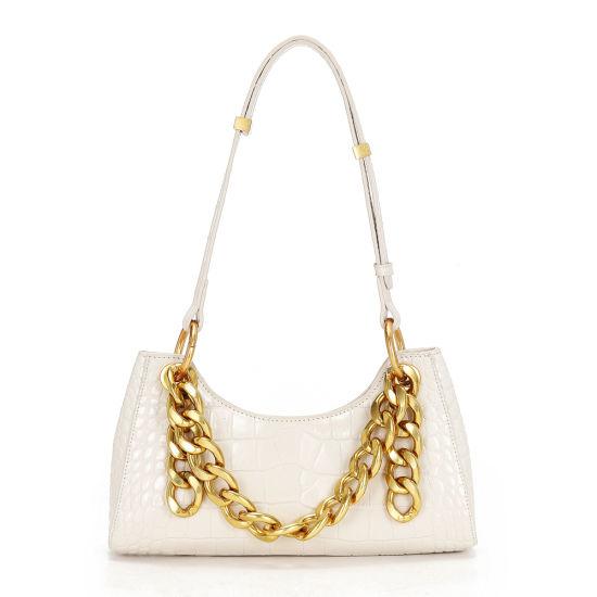2020 New Fashion Crocodile Grain Genuine Leather Underarm Ladies Handbags