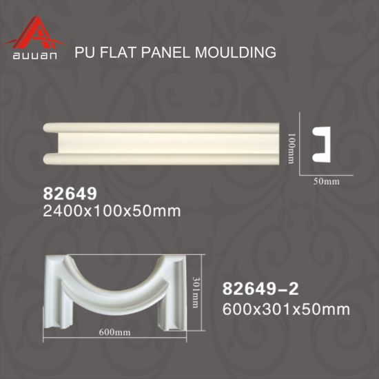 82649 Polyurethane Cornice Flat Wall Chair Rail Moulding Profiles