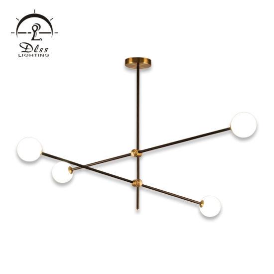 Modern Metal Pendant Lamp Glass LED Hotel Chandelier Lamp